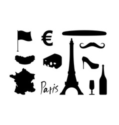 France set icons Traditional travel symbol Sights vector image vector image