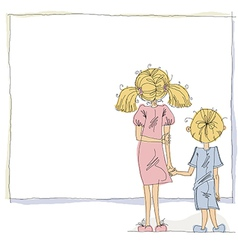 Girl and boy looking at blank board vector image vector image