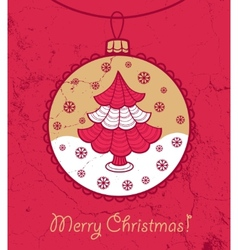 Greeting card with ball and Christmas tree vector image