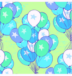 Ink hand drawn seamless pattern with balloons vector