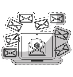 Laptop computer and envelope icon vector