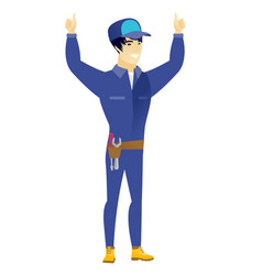 mechanic standing with raised arms up vector image