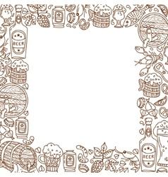 Oktoberfest Cartoon icons in frame vector image