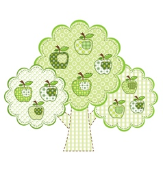 Patchwork green apple tree vector
