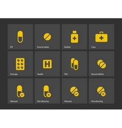 Pills icons vector image