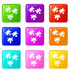 puzzle icons 9 set vector image
