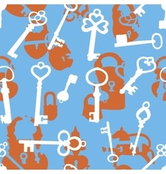 Seamless pattern with padlocks and keys vector image vector image