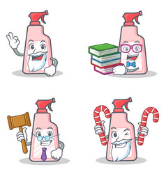 Set of cleaner character with candy book judge vector