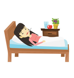 Sick woman with thermometer laying in bed vector