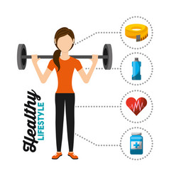 sport woman training lifting weight healthy vector image