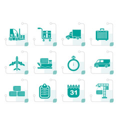 stylized logistics shipping and transportation vector image vector image