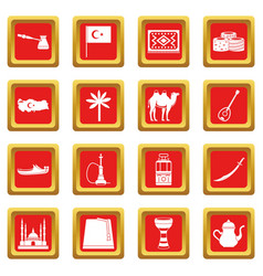 turkey travel icons set red vector image
