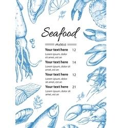 Vintage seafood restaurant menu vector