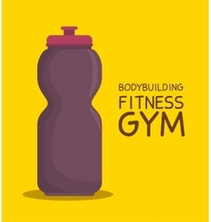 Bottle water bodybuilding fitness gym icon design vector