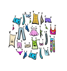 Sketch of clothes collection for your design vector image