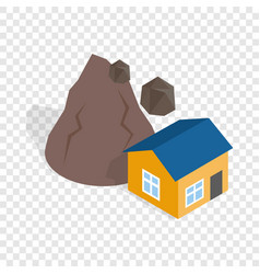 rockfall destroys house isometric icon vector image