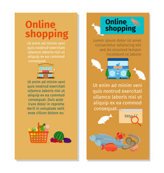 Online shopping grocery flyers vector