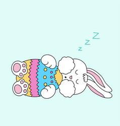 sleeping easter bunny with egg vector image