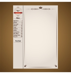 Classic restaurant menu pages template vector