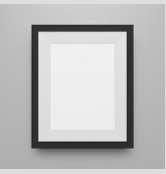 Black blank picture frame realistic mockup vector
