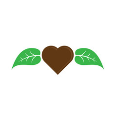 love chocolate with leaf logo image vector image