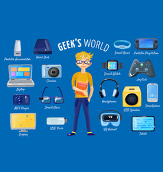 world of gadgets set vector image