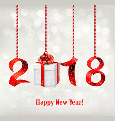 2018 new years background with gift vector