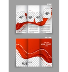 Red wavy tri fold brochure vector image