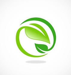 leaf ecology circle symbol logo vector image