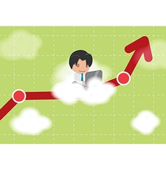 Man work cloud stock market vector
