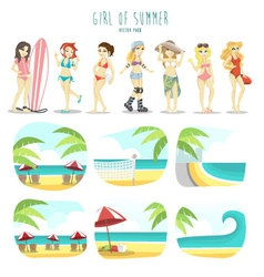 Girl of summer pack vector