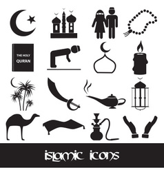 Islamic religion simple black icons set eps10 vector
