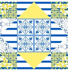 Seamless patchwork pattern quilted fabric style vector