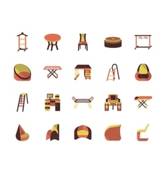 Flat color furniture icons vector