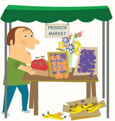 Vendor in the produce market vector
