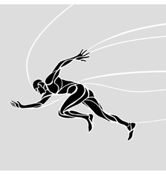 Running man abstract silhouette vector image
