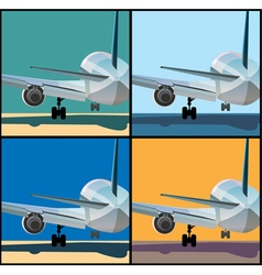 Airplane is landing or to take off vector image