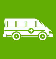 Ambulance emergency van icon green vector