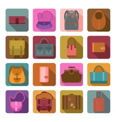 Bags colored flat icons set vector image
