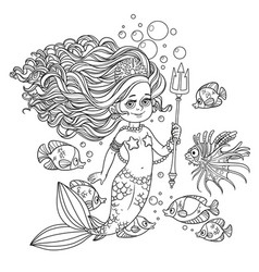 Beautiful mermaid girl surrounded by a fish holds vector