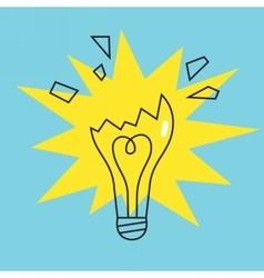 Broken lamp bulb icon concept of failure vector