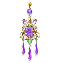 brooch with amethyst and chrysoprase vector image vector image