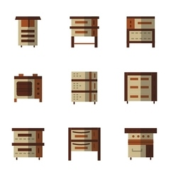 Brown flat style icons for oven vector image