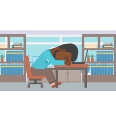Businessman sleeping on workplace vector