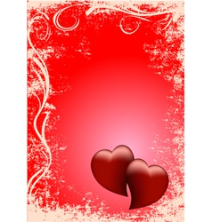 card two red hearts vector image vector image