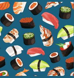 cartoon sushi types pattern vector image vector image