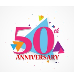 Happy Anniversary celebration with triangle shape vector image