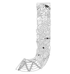 Letter j for coloring decorative zentangle vector