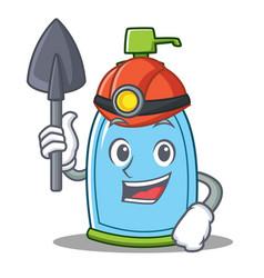 Miner liquid soap character cartoon vector