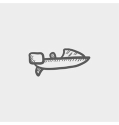 Motorboat sketch icon vector image